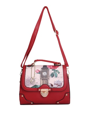 red leatherette (pu) regular sling bag - 15310950 - Standard Image - 1