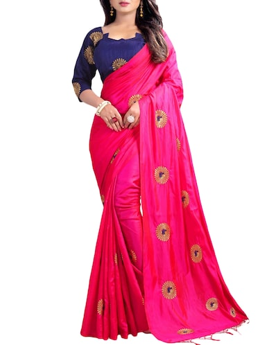 Buy Heavy Embroidered Silk Saree With Blouse By Mastani Online