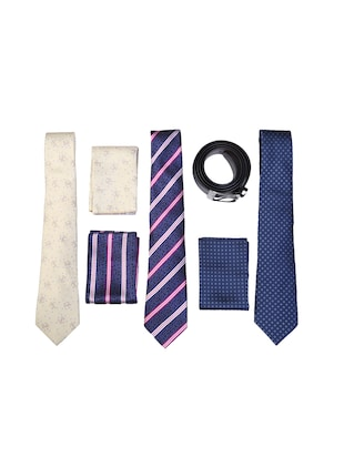 multi colored micro fiber tie with pocket square and belt - 15326425 - Standard Image - 1