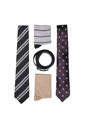 multi colored micro fiber tie with socks and belt - 15326428 - Standard Image - 1