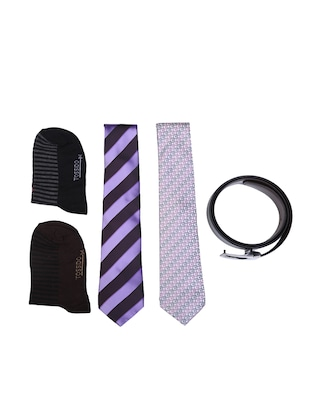 multi colored micro fiber tie with socks and belt - 15326434 - Standard Image - 1
