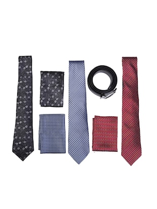 multi colored micro fiber tie with pocket square and belt - 15326437 - Standard Image - 1