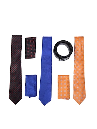 multi colored micro fiber tie with belt and pocket square - 15326440 - Standard Image - 1