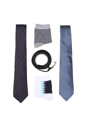 multi colored micro fiber tie with socks and belt - 15326443 - Standard Image - 1