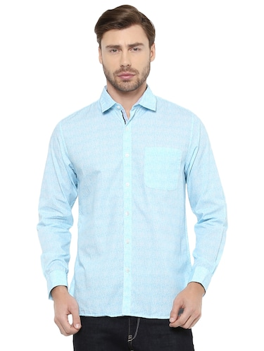 blue cotton casual shirt - 15327245 - Standard Image - 1
