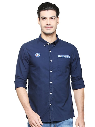 navy blue cotton casual shirt - 15327261 - Standard Image - 1
