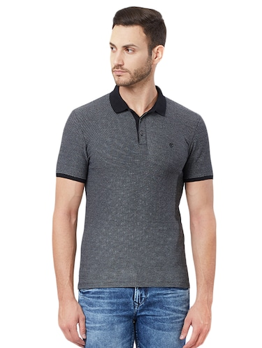 solid black polo t-shirt - 15328606 - Standard Image - 1