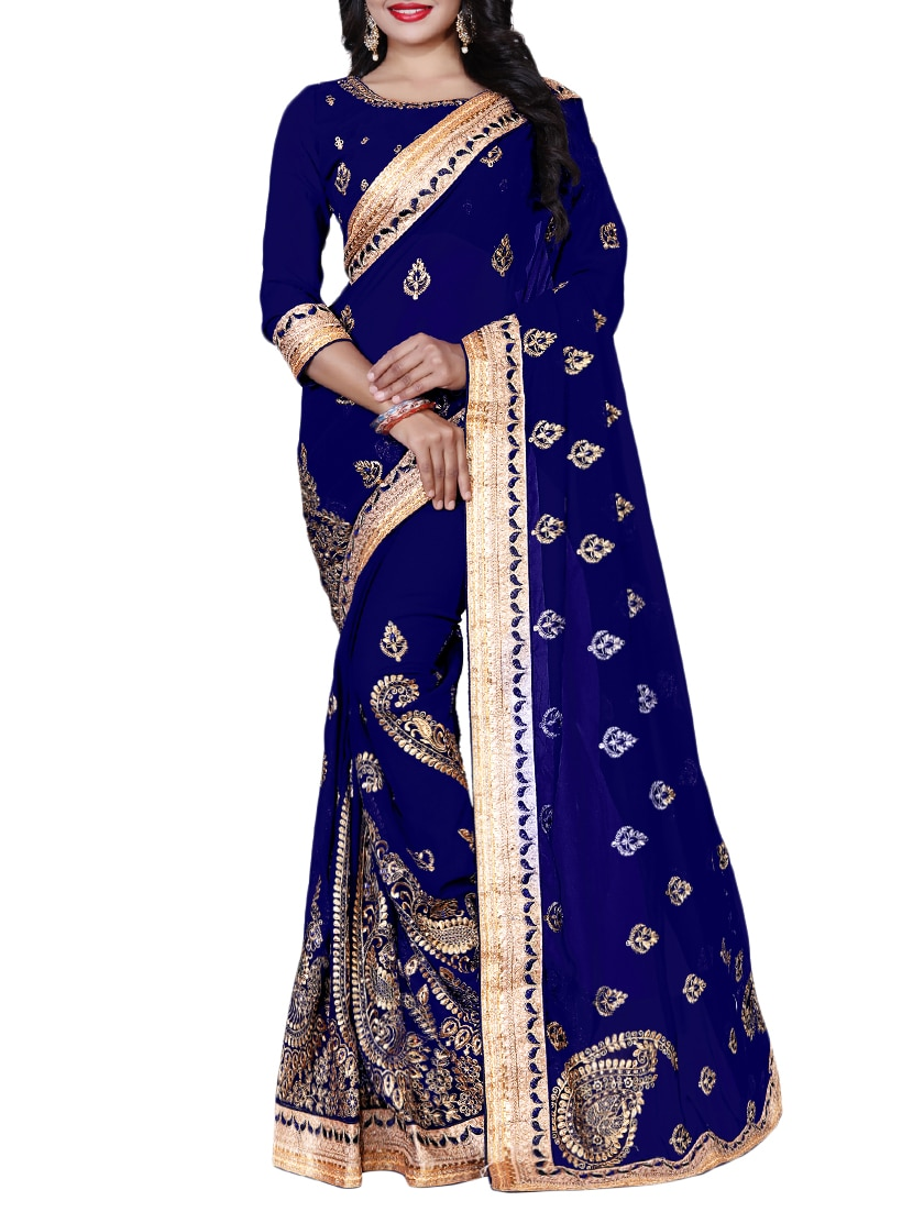 9817af66931a45 Buy Heavy Embroidered Georgette Saree With Blouse by Geet Fashion Solution  - Online shopping for Sarees in India | 15332081