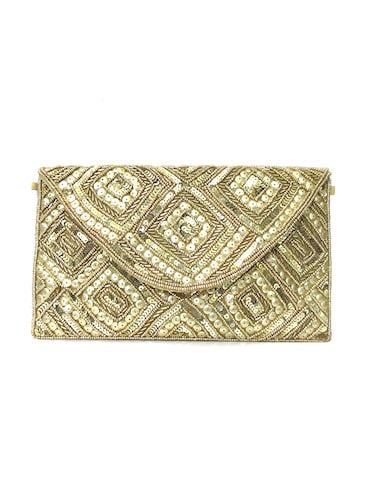 gold polyester quirky clutch - 15335669 - Standard Image - 1