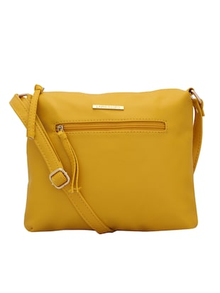 yellow leatherette (pu) regular sling bag - 15338891 - Standard Image - 1