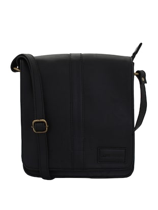 black leatherette (pu) messenger sling bag - 15338892 - Standard Image - 1