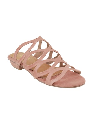 pink faux leather slip on sandals - 15339461 - Standard Image - 1