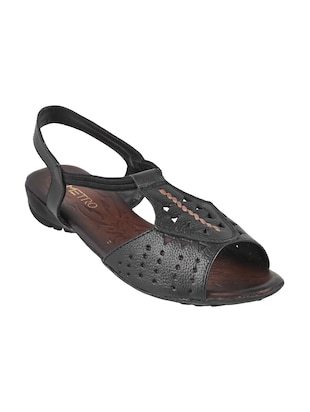 black faux leather back strap sandals - 15339483 - Standard Image - 1