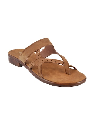 brown leatherette one toe sandals - 15339518 - Standard Image - 1