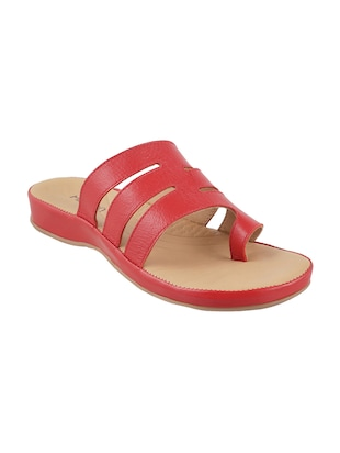 red faux leather toe separator sandals - 15339547 - Standard Image - 1