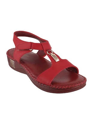 red leather back strap wedges - 15339638 - Standard Image - 1