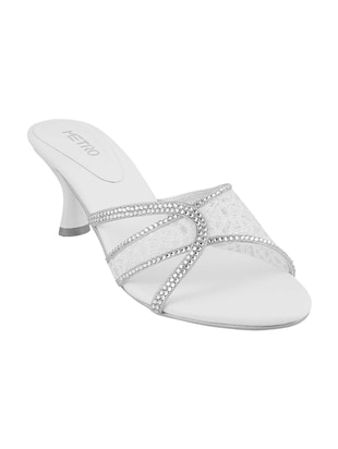 white slip on sandals - 15339873 - Standard Image - 1