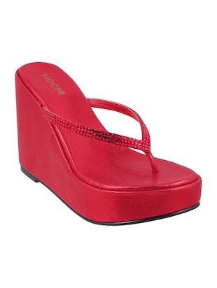 red leatherette toe separator wedges - 15339878 - Standard Image - 1