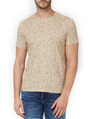 beige cotton all over print t-shirt - 15340177 - Standard Image - 1