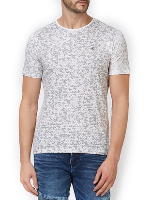 white cotton all over print t-shirt - 15340178 - Standard Image - 1