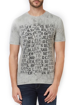 grey cotton front print  t-shirt - 15340196 - Standard Image - 1