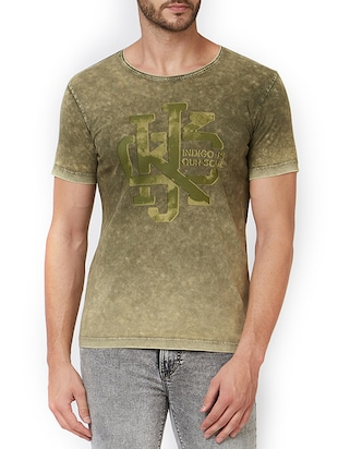green cotton chest print t-shirt - 15340200 - Standard Image - 1