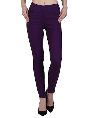 high waist solid jegging - 15340985 - Standard Image - 1