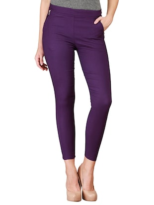 flat front side zipper jeggings - 15341012 - Standard Image - 1