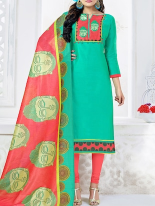 Printed patch yoke unstitched churidaar suit - 15341421 - Standard Image - 1