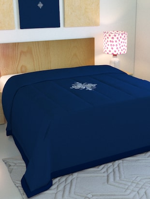 Blue Embroided Double Bed AC Blanket - 15341759 - Standard Image - 1