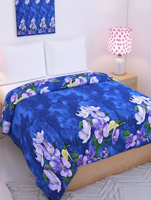 Blue Reversible Double Bed Blanket - By Azaani - 15341762 - Standard Image - 1