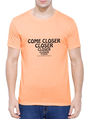 orange cotton blend chest print tshirt - 15342102 - Standard Image - 1