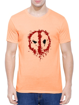 orange cotton blend chest print tshirt - 15342127 - Standard Image - 1