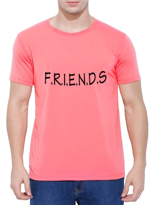 pink cotton chest print t-shirt - 15342145 - Standard Image - 1
