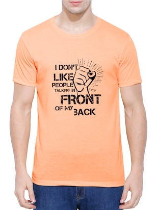 orange cotton blend chest print tshirt - 15342152 - Standard Image - 1