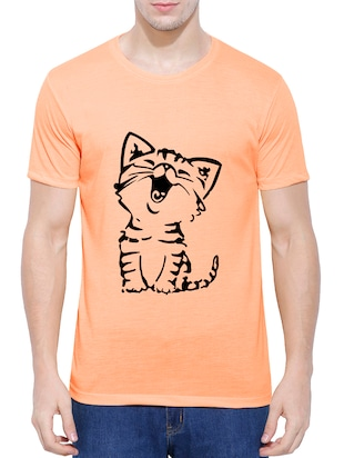 orange cotton blend chest print tshirt - 15342207 - Standard Image - 1