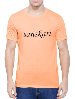orange cotton blend chest print tshirt - 15342292 - Standard Image - 1