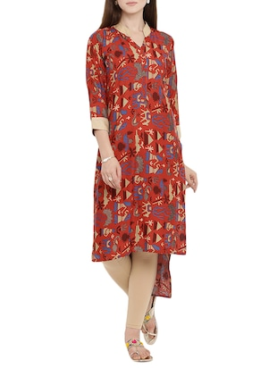 red rayon highlow kurta - 15342496 - Standard Image - 1