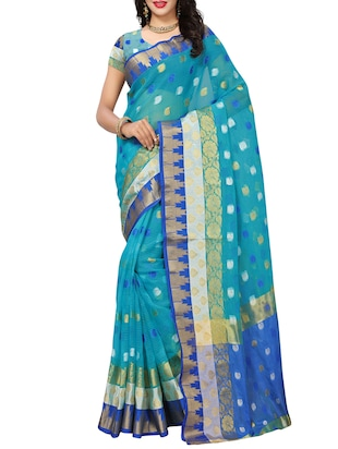 Paisley kota doria saree with blouse - 15342656 - Standard Image - 1