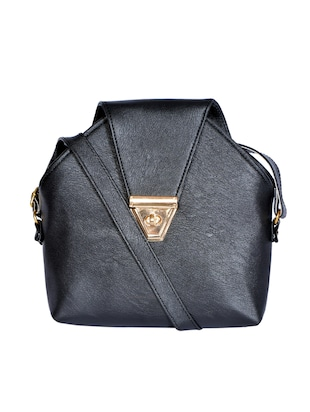black leatherette (pu) regular sling bag - 15343557 - Standard Image - 1