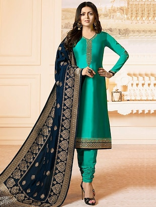 Embroidered semi-stitched churidaar suit - 15343730 - Standard Image - 1