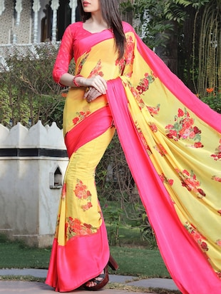 floral printed yellow saree with blouse - 15344236 - Standard Image - 1