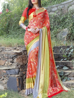 striped border red saree with blouse - 15344237 - Standard Image - 1
