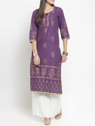purple cotton straight kurta - 15344544 - Standard Image - 1