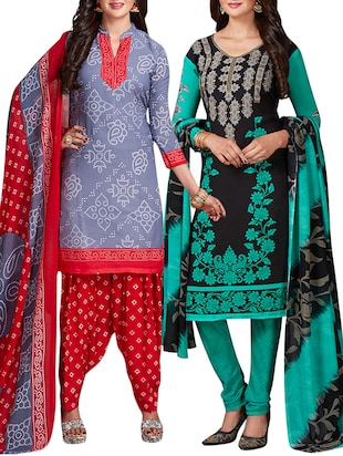 multi colored unstitched combo suit - 15344607 - Standard Image - 1