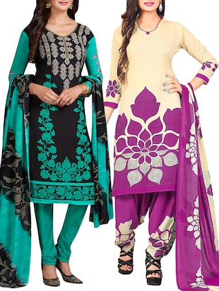 multi colored unstitched combo suit - 15344617 - Standard Image - 1
