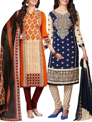 multi colored unstitched combo suit - 15344629 - Standard Image - 1