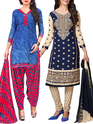 multi colored unstitched combo suit - 15344643 - Standard Image - 1