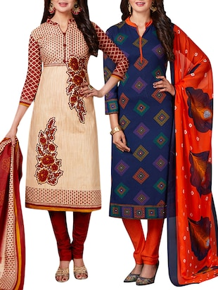 multi colored unstitched combo suit - 15344653 - Standard Image - 1