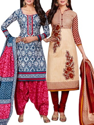 multi colored unstitched combo suit - 15344654 - Standard Image - 1